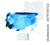blue brush stroke and texture.... | Shutterstock .eps vector #1074735722