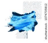 blue brush stroke and texture.... | Shutterstock .eps vector #1074735812