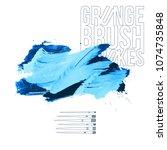 blue brush stroke and texture.... | Shutterstock .eps vector #1074735848