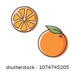 Orange outline illustration with watercolor effect. Vector doodle sketch hand drawn citrus fruit illustration
