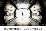 realistic old spaceship with... | Shutterstock . vector #1074746528
