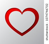 red heart from cut paper with... | Shutterstock .eps vector #1074746732