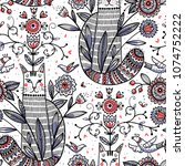 vector seamless pattern with... | Shutterstock .eps vector #1074752222