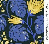 vector floral seamless pattern...   Shutterstock .eps vector #1074752252