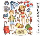 summer vacation set of colored...   Shutterstock .eps vector #1074753422