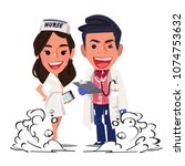 doctor and nurse character... | Shutterstock .eps vector #1074753632