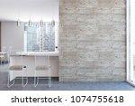 white kitchen interior with a...   Shutterstock . vector #1074755618