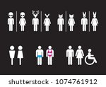 male and female restroom symbol ... | Shutterstock .eps vector #1074761912