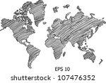 world map globe vector line... | Shutterstock .eps vector #107476352