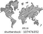 World Map Globe Vector Line...