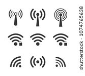 set of wireless wifi icons ... | Shutterstock .eps vector #1074765638
