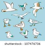 few seagulls | Shutterstock .eps vector #107476736