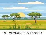 african landscape  savannah ... | Shutterstock .eps vector #1074770135