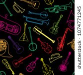 painted musical instruments... | Shutterstock .eps vector #1074771245