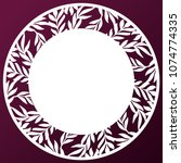 vector stencil lacy round frame ... | Shutterstock .eps vector #1074774335