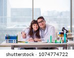 two chemists working in lab...   Shutterstock . vector #1074774722