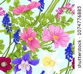 floral seamless pattern ... | Shutterstock .eps vector #1074776885