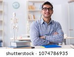 medical student studying in... | Shutterstock . vector #1074786935