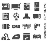 vector black home appliances... | Shutterstock .eps vector #1074787592