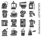 coffee and tea icons. set of... | Shutterstock .eps vector #1074787595
