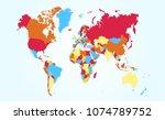 color world map vector   Shutterstock .eps vector #1074789752