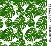 tropical pattern palm summer... | Shutterstock .eps vector #1074799592