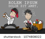 drunk businessman with alcohol... | Shutterstock .eps vector #1074808022