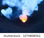 lava eruption of the stromboli... | Shutterstock . vector #1074808562