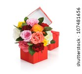 Red Gift Box With Colorful...