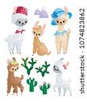 cute llamas and their cubs.... | Shutterstock .eps vector #1074823862