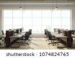 modern coworking office... | Shutterstock . vector #1074824765