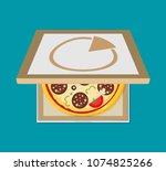 open pizza box. flat style... | Shutterstock .eps vector #1074825266