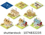 wood construction of roof for... | Shutterstock .eps vector #1074832235