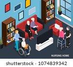 nursing home isometric... | Shutterstock .eps vector #1074839342