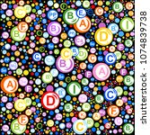 seamless pattern. multi vitamin ... | Shutterstock .eps vector #1074839738