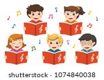 choir girls and boys singing a... | Shutterstock .eps vector #1074840038