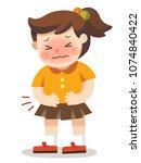 a girl having stomach ache. she ... | Shutterstock .eps vector #1074840422