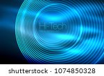 circular glowing neon shapes ... | Shutterstock .eps vector #1074850328