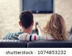 happy young couple relaxing and ...   Shutterstock . vector #1074853232