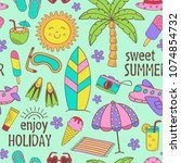 seamless pattern with summer... | Shutterstock .eps vector #1074854732