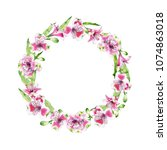hand drawn watercolor wreath of ... | Shutterstock . vector #1074863018