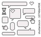 set of pixel elements for... | Shutterstock .eps vector #1074864908