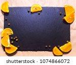 beautiful orange on black... | Shutterstock . vector #1074866072