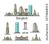 banner of bangkok city in flat...   Shutterstock . vector #1074868415