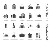 luggage flat glyph icons. carry ... | Shutterstock .eps vector #1074880412