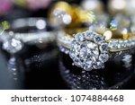 luxury jewelry diamond rings... | Shutterstock . vector #1074884468