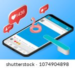mobile internet surfing dive... | Shutterstock .eps vector #1074904898