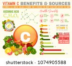 vitamin c benefits and sources. ... | Shutterstock .eps vector #1074905588