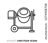 mobile concrete mixer flat line ...   Shutterstock .eps vector #1074908708