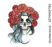 hand drawn human skull in roses ... | Shutterstock .eps vector #1074909782